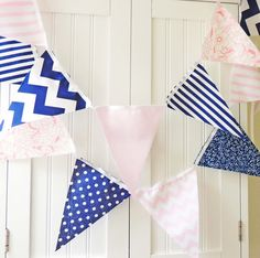 21 Fabric Flag Bunting, 9 Feet Banner, Navy Blue and Pale Pink Polka Dot, Chevron, Floral, Baby Nursery Decor, Wedding Garland, Birthday