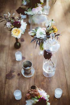 wildflower centerpieces, photo by Bethany Carlson http://ruffledblog.com/a-handcrafted-wedding-in-sunnydale #weddingflowers #wildflowers