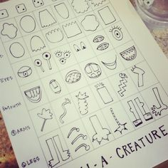 make your own roll-a-creature handout