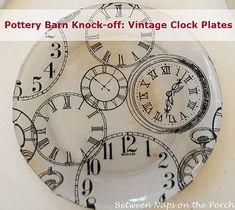 vintage clocks, craft, plates, potteri barn, barn clock, barns, clock plate, diy, pottery barn