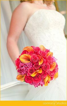 Pink Peonies, pink roses & Mango Callas pop so well together! #wedding #bouquets #love {J. Morris Flowers}