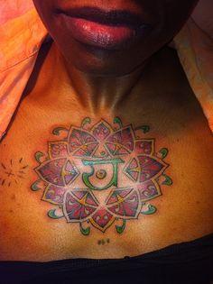 colored tattoos on black skin