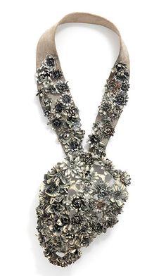 "Necklace | Hanna Hedman. ""Black Bile"". 2013. Silver, leather, copper, paint"