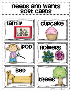 (sample page) Needs and Wants Sorting Cards {Social Studies for Young Students} $