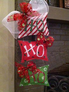 Ho Ho Ho Burlap Door Hanger. $35.00, via Etsy. DIY--from wood or cardboard