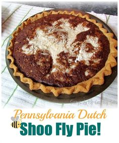 Pennsylvania Dutch Shoo Fly Pie recipe and even some history on Pennsylvania Dutch cooking! (You can't beat this when it's HOT and served with whipped cream on top !)