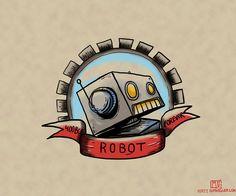 robot tattoo, yeah tattoo, robot illustr