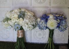 Blue and white bridal bouquet and bridesmaid bouquet