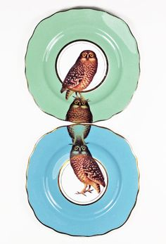 Owl plates by yvonneellen on Etsy, $56.00