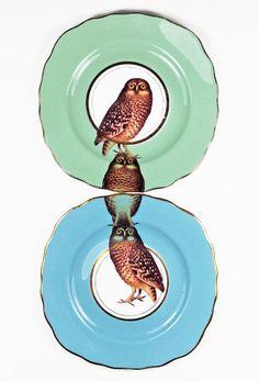 Owl plates by yvonneellen on Etsy, $56.00