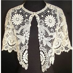 Edwardian White Lace Collar Capelet Pelerine found on Polyvore