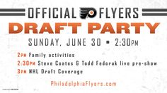 """Join us Sunday, June 30th for our Philadelphia Flyers Family Fun Day and Draft Party! Family fun activities begin at 2pm including: - Inflatables - """"Hooked On Hockey"""" Clinic in the VIP Lot - Live Music from """"We Kids Rock"""" band - Games & Activities - Specialty themed kids menu - Face Painters - MUCH MORE! Coverage of the NHL Draft begins live on the big screen at 3pm!"""