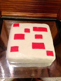 Minecraft cake I made for my sons 7th birthday.. Homemade marshmallow fondant
