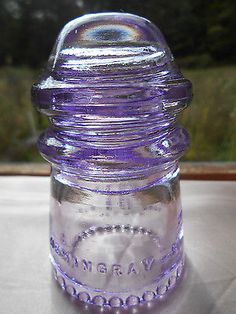 Antique Amethyst Purple Glass Insulator --- Hemingray 9