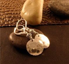 Funky Little Hand Hammered Sterling Silver Disc Earrings