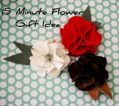 $1 Leather or Felt Flower Gift Idea with template flower pins, templates, fabric flowers, gift ideas, gifts, flower clips, flower tutorial, leather, felt flowers