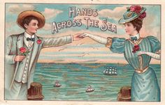 Vintage Postcards Hands Across The Sea (Image1)