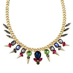Multi Gemstone Spike Chain Necklace, SW211