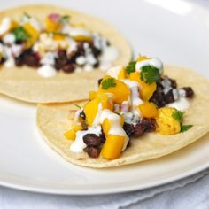 Mango Black Bean and Coconut Tacos
