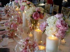 wedding tables, table settings, pink flowers, wedding receptions, centerpiec, pink weddings, reception ideas, wedding reception decorations, pink peonies