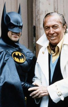 "Michael Keaton and Batman creator, Bob Kane, on set of ""Batman Returns"" (1992)."
