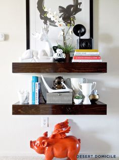 DIY Chunky Wooden Floating Shelves #styling #shelves #decorating