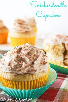 Snickerdoodle Cupcakes #cupcakes #cupcakeideas #cupcakerecipes #food #yummy #sweet #delicious #cupcake