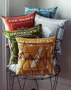 pillows in basket
