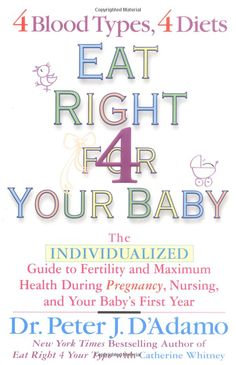Eat Right For Your Baby: The Individulized Guide to Fertility and Maximum Heatlh During Pregnancy: Dr. Peter J. D'Adamo, Catherine Whitney: ...
