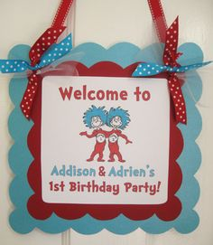 Dr Seuss Thing 1 Thing 2 Birthday Banner by GeminiCelebrations, $20.00