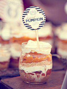 layered pumpkin dessert for fall time