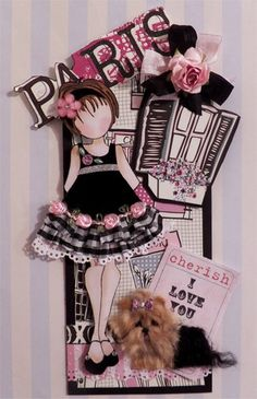 Elite4U Prima Doll Tag Paris Style with Yorkie PP for pages or albums CTD