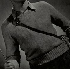 Fingering Yarn Crew Neck Sweater knit pattern from Sweaters for Men & Boys, originally published by Jack Frost, Volume No. 40, from 1947.