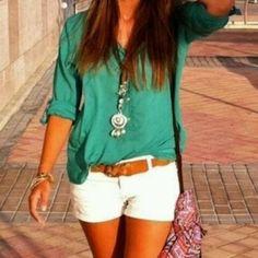 teal shirt, tan belt, white shorts