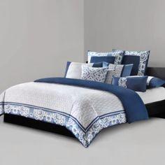 N Natori® Blue Porcelain Duvet Cover - BedBathandBeyond.com, king, $150