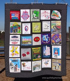 "T-Shirts Memory Quilt.  Machine Pieced, Machine applique, Free Motion Quilting. 75""X 65""  Quilts by Marisela original design.   READ THE POST ABOUT THIS QUILT AT  www.quiltsbymarisela.com"