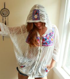 Mexican Embroidered Boho Hippie Beach Cover Up Lace Crochet White/Purple Hoodie Hooded Sweatshirt Sweater One Size by MountainGirlClothing
