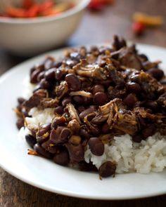 Crockpot Pork Adobo with Black Beans (dry black beans, pork shoulder, filipino soy sauce, brown sugar, garlic, bay leaves, peppercorns, vinegar)