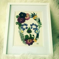 Dried Flower Skull framed, sold