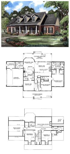 #Colonial #HousePlan 62072 | A covered porch topped with dormers gives this home classic appeal. The two-story great-room, overlooked by a balcony, features built-ins, a wall of windows and a fireplace. In the main-level right wing, twin walk-in closets and a luxurious bath embellish the master suite.
