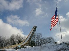 Built in the early 1930's, Pine Mountain is the largest man made ski slide in the US. It holds the North American distance record of 459 feet on 140 meters.