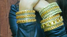 Need a little rock and roll edge in your life? Make these amazing Glam Rock Chain Cuffs for a night out on the town. Perfect for your next big occasion, these DIY bracelets have an abundance of style and sparkle.