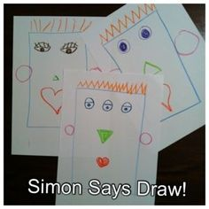 Simon Says Draw! (Fun whole group game ~ Helps with listening skills and following directions.)