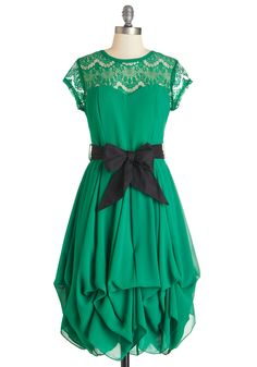 Billow and Bloom Dress in Leaf. The flowering branches and bushes of your backyard sway gracefully in the breeze as you step out from your porch in this rich green dress! #green #wedding #bridesmaid #modcloth