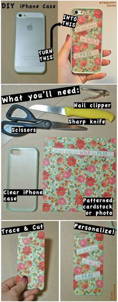 DIY iPhone Case, this would work with any clear phone case and its just too cute