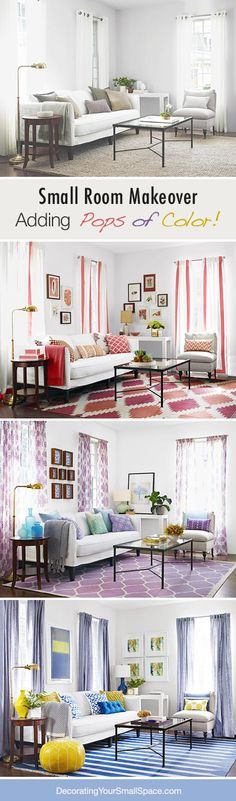 Small Room Makeover: Adding Pops of Color! How to add color with neutral furniture