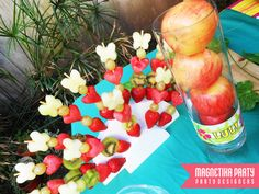 Pretty fruit skewers at Luau Party #luau #partyfood