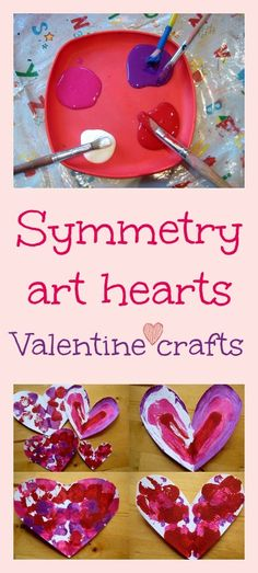 Symmetry art valentine craft - beautiful kids art and math lesson in one craft kids, valentine crafts, heart crafts, art valentin, art lessons, math lessons, kid art, symmetri art, art projects