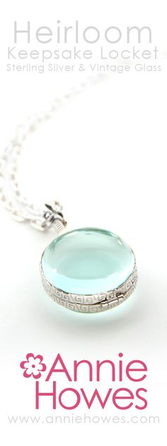 Gorgeous Keepsake sterling silver and vintage glass locket. From www.anniehowes.com