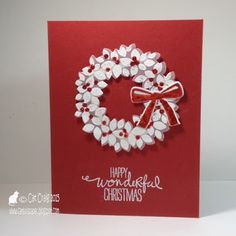 handmade Christmas card from Cat Luvs Paper ... Wondreous Wreath ... one layer ... red and white ... a delight!